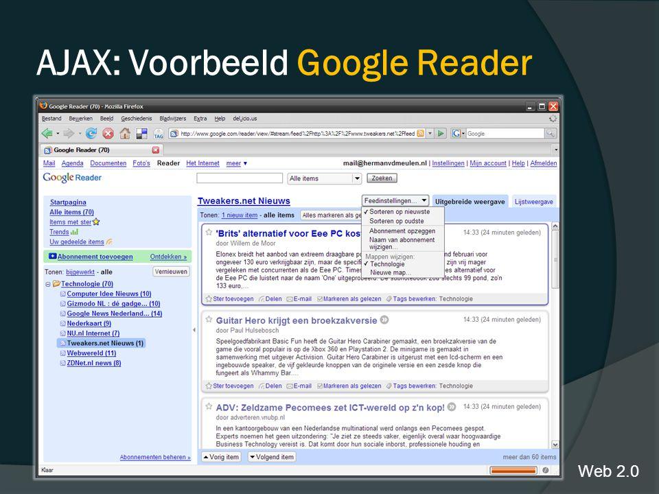 AJAX: Voorbeeld Google Reader Web 2.0