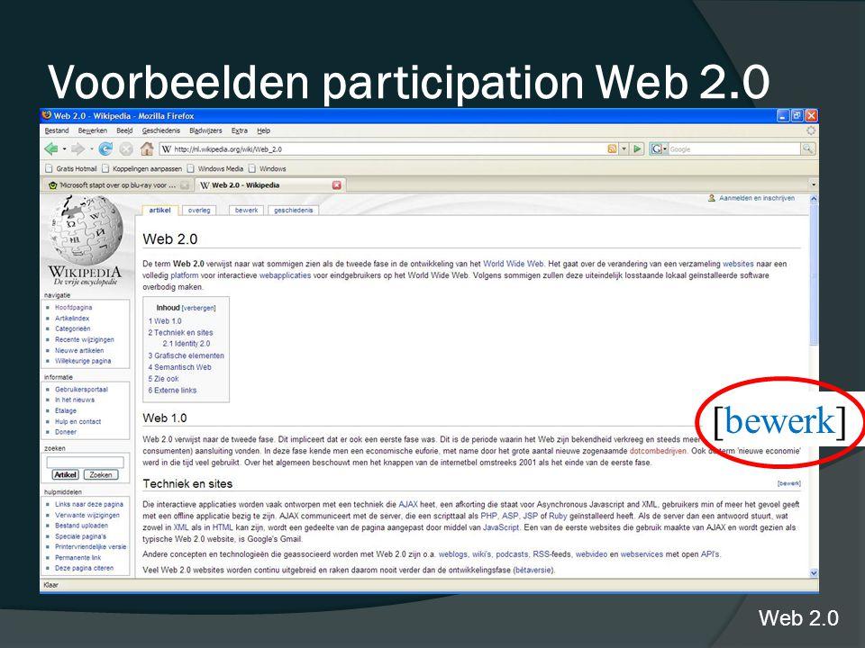 Wikipedia Voorbeelden participation Web 2.0 Web 2.0 [bewerk]