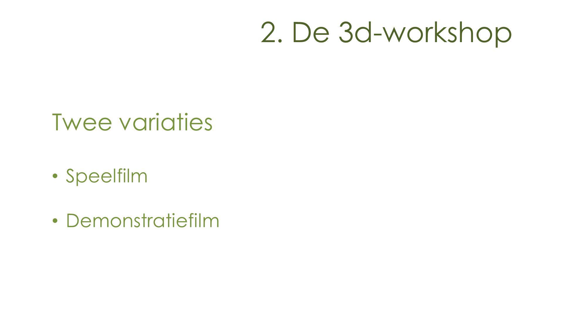 Twee variaties Speelfilm Demonstratiefilm 2. De 3d-workshop