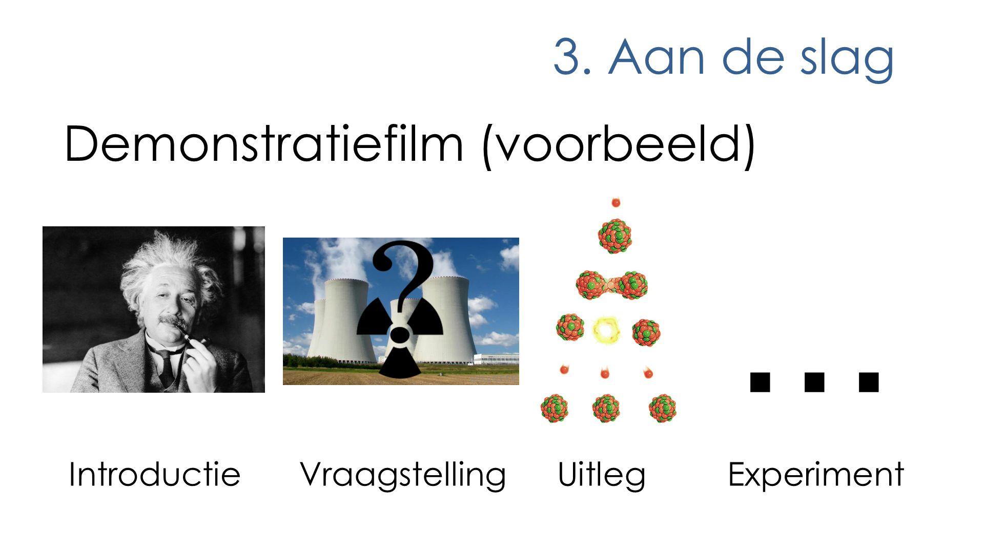 3. Aan de slag Demonstratiefilm (voorbeeld) IntroductieUitlegExperiment ?... Vraagstelling