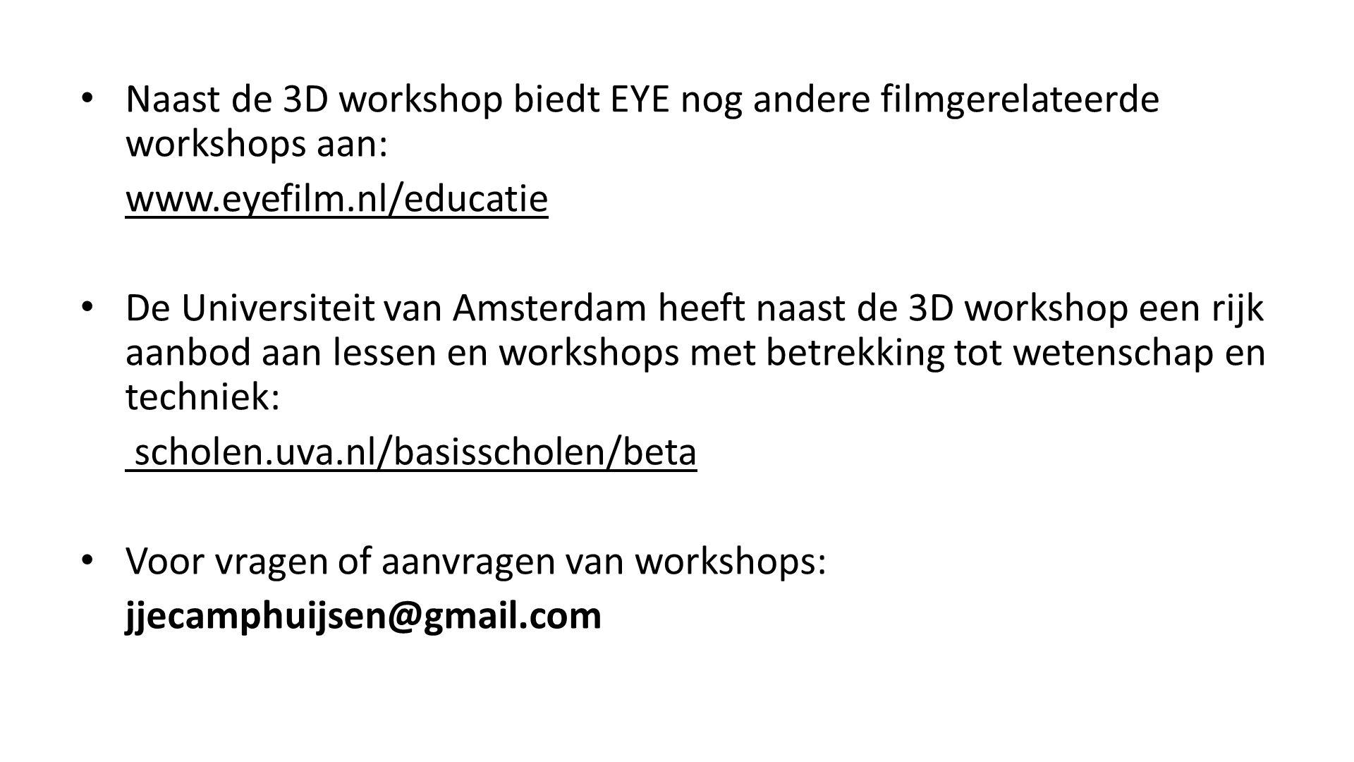 Naast de 3D workshop biedt EYE nog andere filmgerelateerde workshops aan: www.eyefilm.nl/educatie De Universiteit van Amsterdam heeft naast de 3D work
