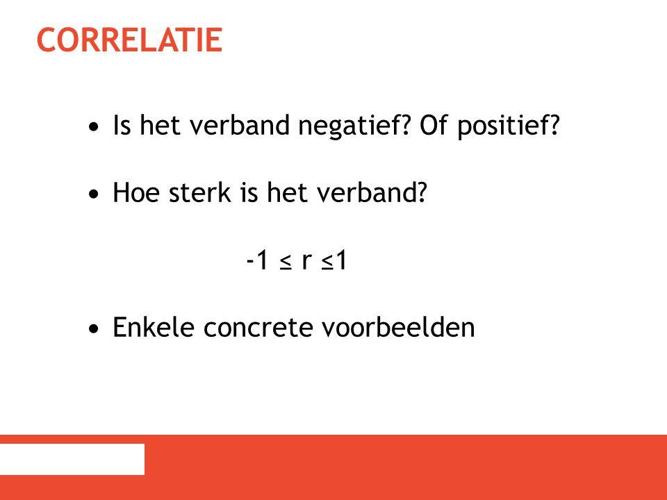 CORRELATIE Is het verband negatief? Of positief? Hoe sterk is het verband? -1 ≤ r ≤1 Enkele concrete voorbeelden