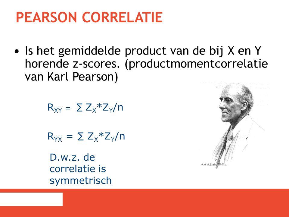 PEARSON CORRELATIE Is het gemiddelde product van de bij X en Y horende z-scores. (productmomentcorrelatie van Karl Pearson) R XY = ∑ Z X *Z Y /n R YX