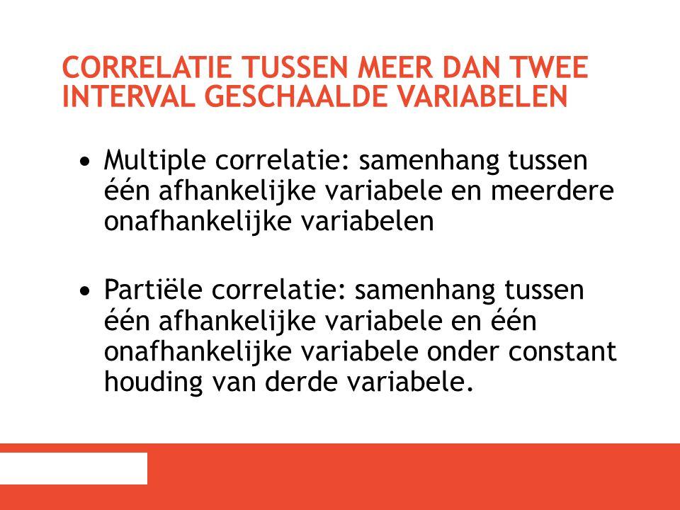Multiple correlatie: samenhang tussen één afhankelijke variabele en meerdere onafhankelijke variabelen Partiële correlatie: samenhang tussen één afhan