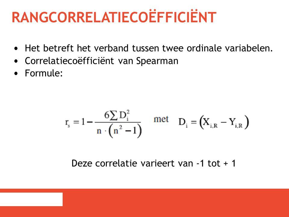 RANGCORRELATIECOËFFICIËNT Het betreft het verband tussen twee ordinale variabelen. Correlatiecoëfficiënt van Spearman Formule: Deze correlatie varieer