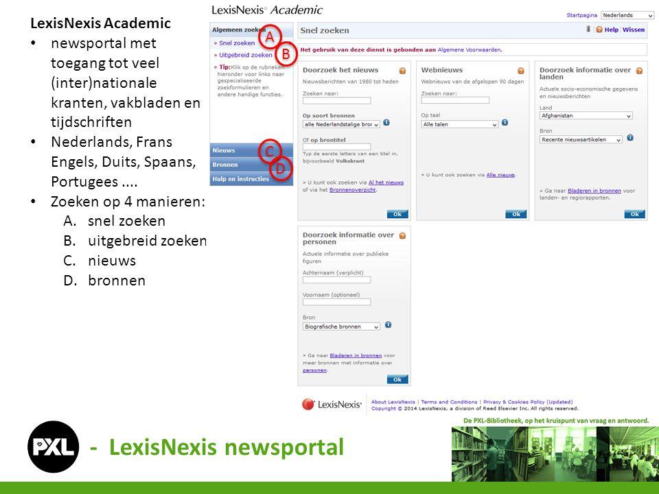 - LexisNexis newsportal A.Snel zoeken (1) zoekwoord/titel per bron (2) webnieuws per taal (3) land per bron (4) personen per bron Zie volgende slides voor verdere uitleg