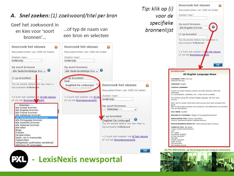 - LexisNexis newsportal A.Snel zoeken: (1) zoekwoord/titel per bron Geef het zoekwoord in en kies voor 'soort bronnen'… …of typ de naam van een bron en selecteer Tip: klik op (i) voor de specifieke bronnenlijst