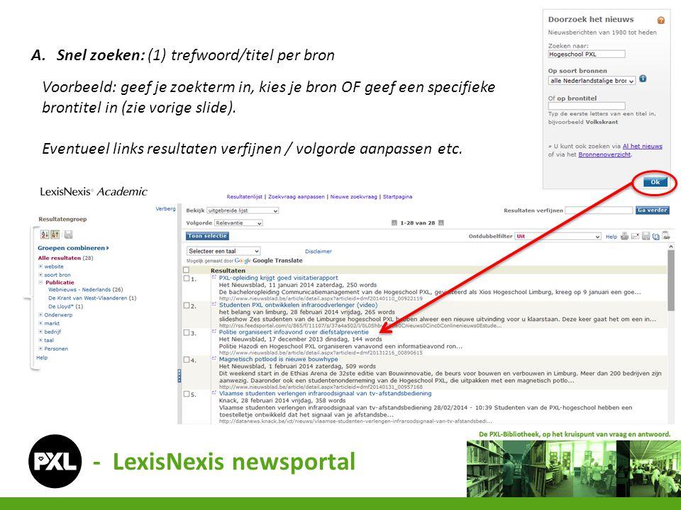 - LexisNexis newsportal A.Snel zoeken: (1) trefwoord/titel per bron Voorbeeld: geef je zoekterm in, kies je bron OF geef een specifieke brontitel in (zie vorige slide).