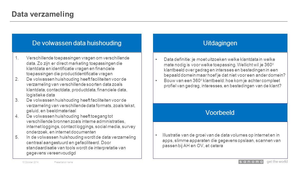 Data verzameling 10 October 2014Presentation name De volwassen data huishouding Voorbeeld 1.Verschillende toepassingen vragen om verschillende data.