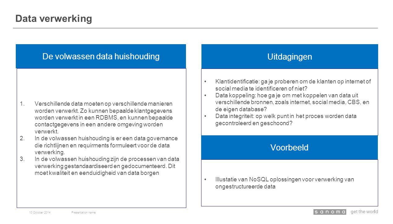Data verwerking 10 October 2014Presentation name De volwassen data huishouding Uitdagingen 1.Verschillende data moeten op verschillende manieren worden verwerkt.