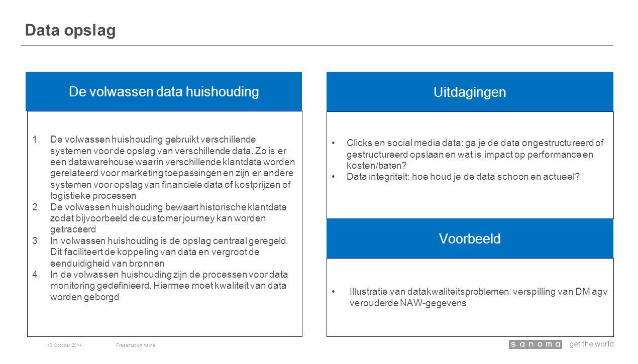 Data opslag 10 October 2014Presentation name De volwassen data huishouding Uitdagingen 1.De volwassen huishouding gebruikt verschillende systemen voor de opslag van verschillende data.