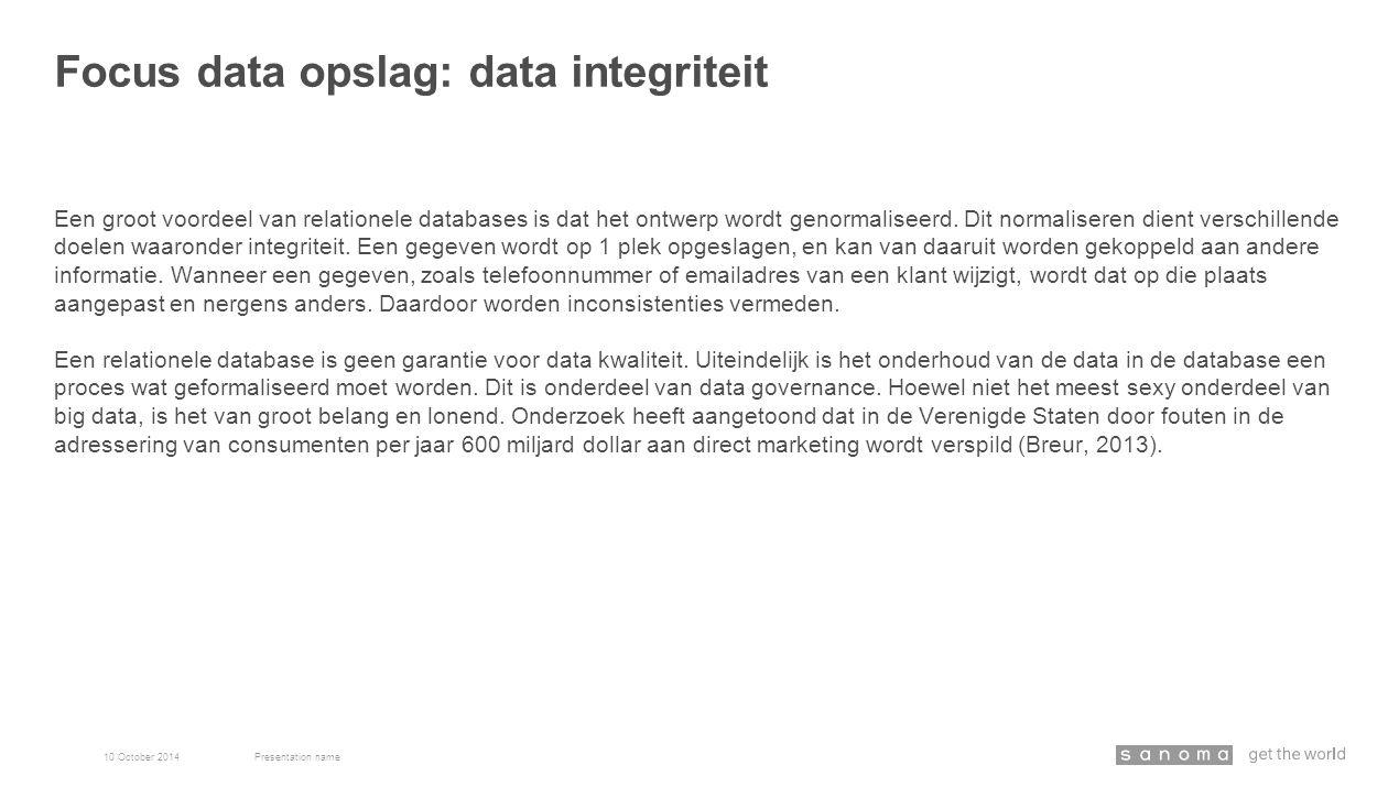 Een groot voordeel van relationele databases is dat het ontwerp wordt genormaliseerd. Dit normaliseren dient verschillende doelen waaronder integritei