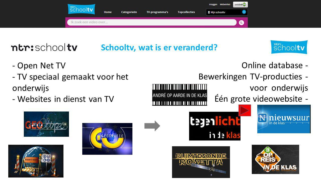 Schooltv nu alleen online - Open Net TV - TV speciaal gemaakt voor het onderwijs - Websites in dienst van TV Online database - Bewerkingen TV-producties - voor onderwijs Één grote videowebsite - Schooltv, wat is er veranderd?