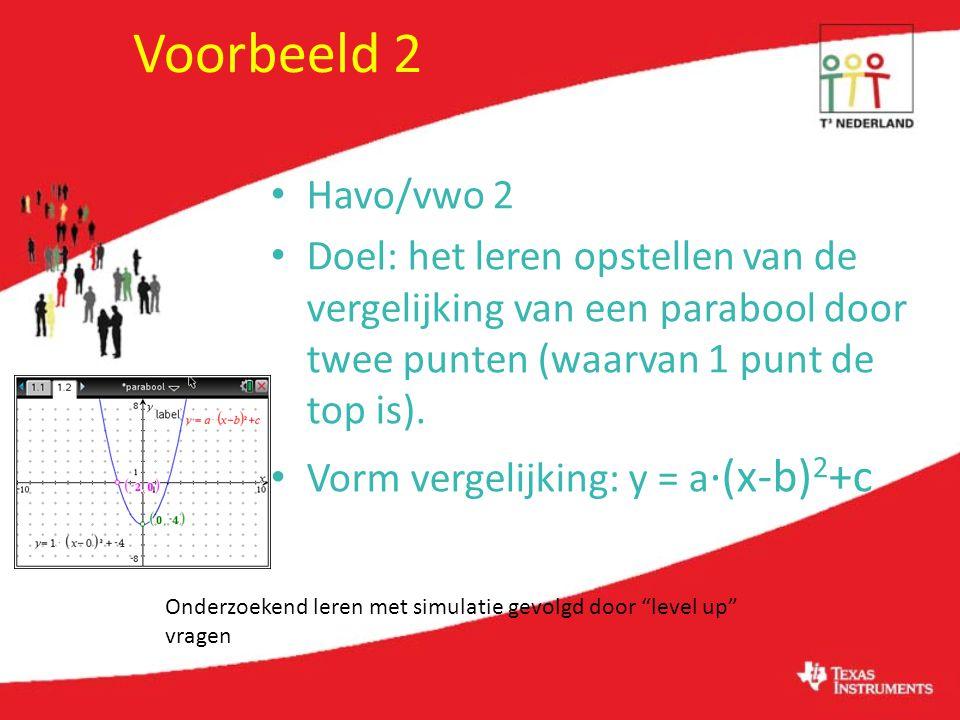 Voorbeeld 2 Havo/vwo 2 Doel: het leren opstellen van de vergelijking van een parabool door twee punten (waarvan 1 punt de top is).