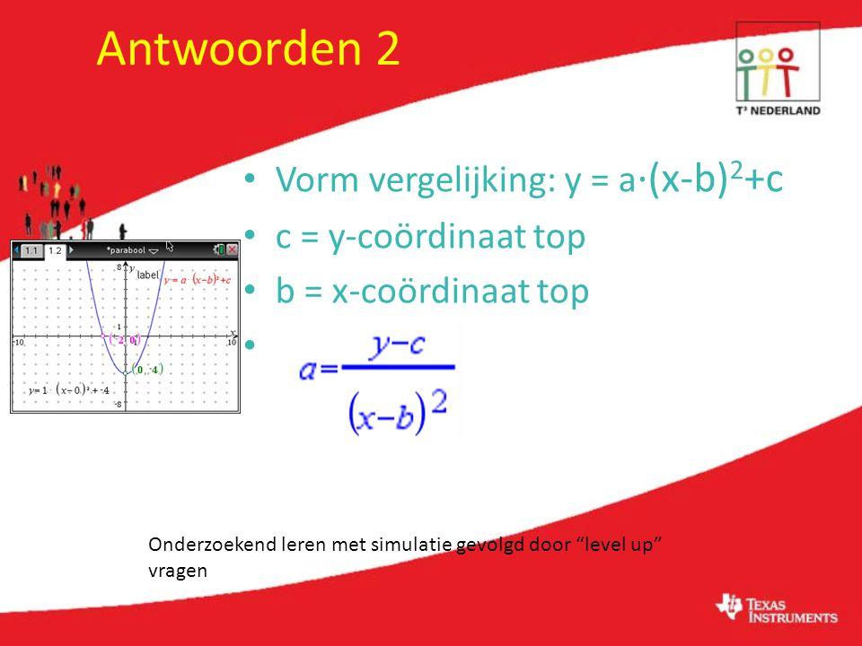Antwoorden 2 Vorm vergelijking: y = a ·(x-b) 2 +c c = y-coördinaat top b = x-coördinaat top Onderzoekend leren met simulatie gevolgd door level up vragen