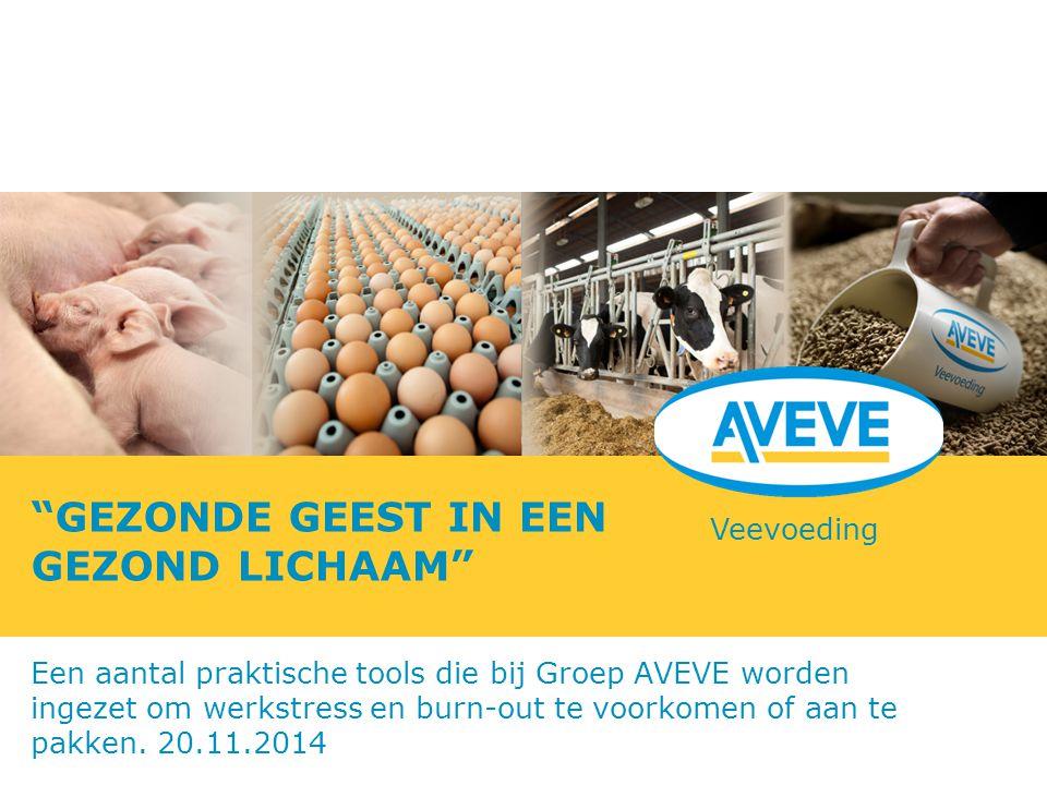 """Veevoeding """"GEZONDE GEEST IN EEN GEZOND LICHAAM"""" Een aantal praktische tools die bij Groep AVEVE worden ingezet om werkstress en burn-out te voorkomen"""