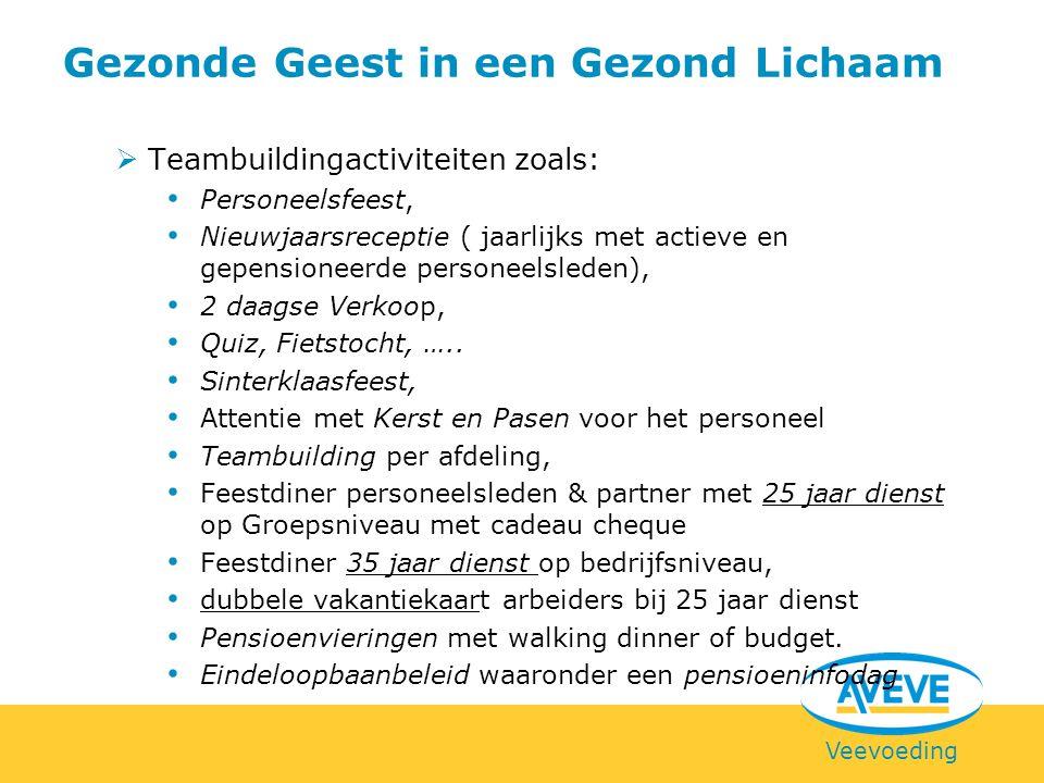 Veevoeding  Teambuildingactiviteiten zoals: Personeelsfeest, Nieuwjaarsreceptie ( jaarlijks met actieve en gepensioneerde personeelsleden), 2 daagse