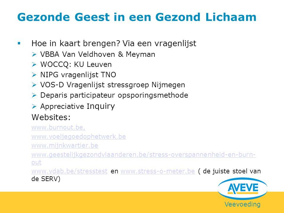 Veevoeding  Hoe in kaart brengen? Via een vragenlijst  VBBA Van Veldhoven & Meyman  WOCCQ: KU Leuven  NIPG vragenlijst TNO  VOS-D Vragenlijst str