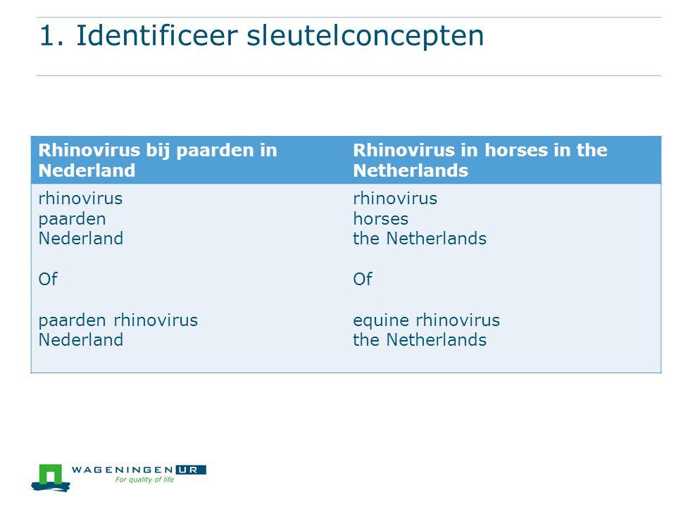 1. Identificeer sleutelconcepten Rhinovirus bij paarden in Nederland Rhinovirus in horses in the Netherlands rhinovirus paarden Nederland Of paarden r