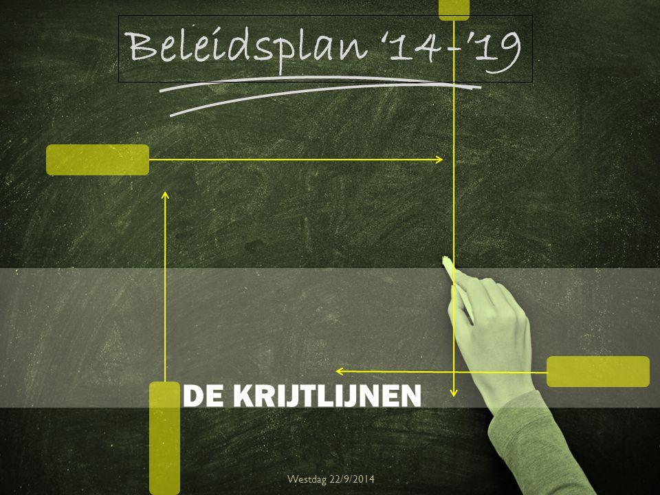 DE KRIJTLIJNEN Westdag 22/9/2014 Beleidsplan '14-'19