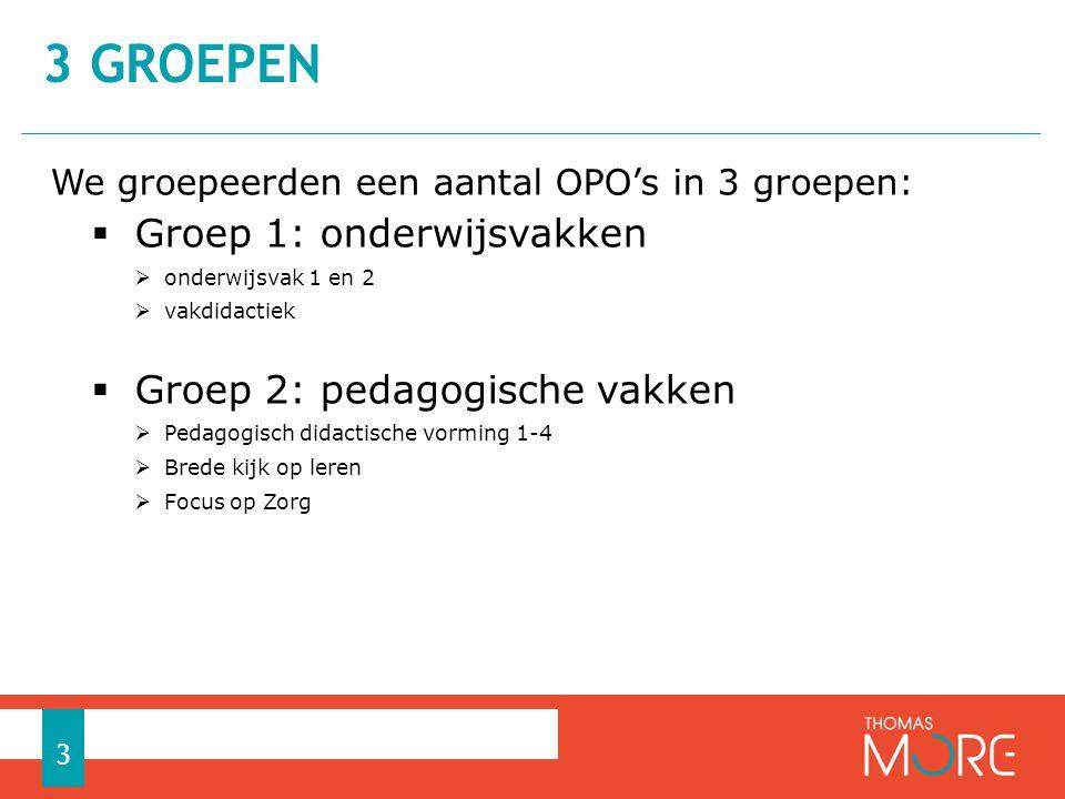 We groepeerden een aantal OPO's in 3 groepen:  Groep 1: onderwijsvakken  onderwijsvak 1 en 2  vakdidactiek  Groep 2: pedagogische vakken  Pedagogisch didactische vorming 1-4  Brede kijk op leren  Focus op Zorg 3 GROEPEN 3