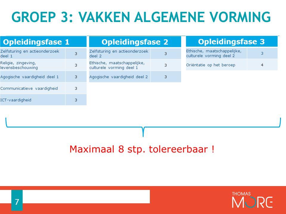 GROEP 3: VAKKEN ALGEMENE VORMING 7 Maximaal 8 stp.