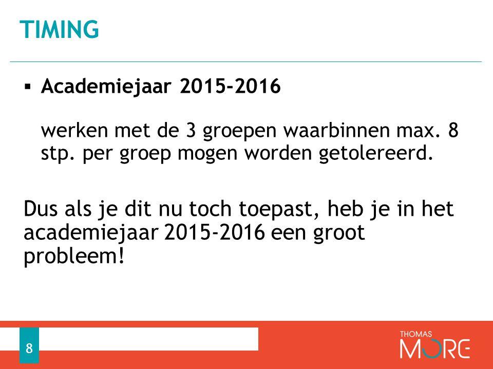  Academiejaar 2015-2016 werken met de 3 groepen waarbinnen max.