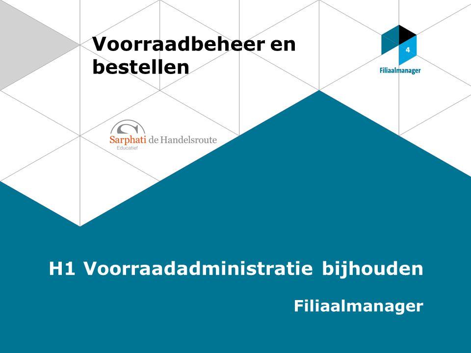 Voorraadbeheer en bestellen H1 Voorraadadministratie bijhouden Filiaalmanager