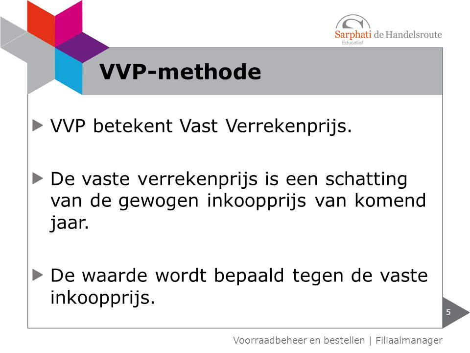VVP betekent Vast Verrekenprijs. De vaste verrekenprijs is een schatting van de gewogen inkoopprijs van komend jaar. De waarde wordt bepaald tegen de