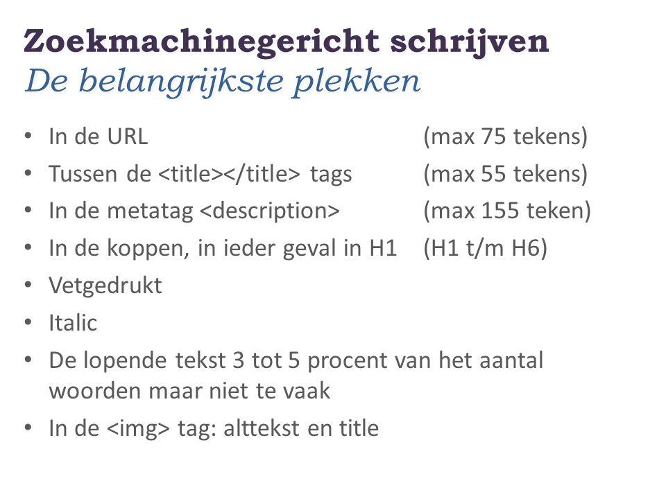 Zoekmachinegericht schrijven De belangrijkste plekken In de URL(max 75 tekens) Tussen de tags(max 55 tekens) In de metatag (max 155 teken) In de koppen, in ieder geval in H1 (H1 t/m H6) Vetgedrukt Italic De lopende tekst 3 tot 5 procent van het aantal woorden maar niet te vaak In de tag: alttekst en title