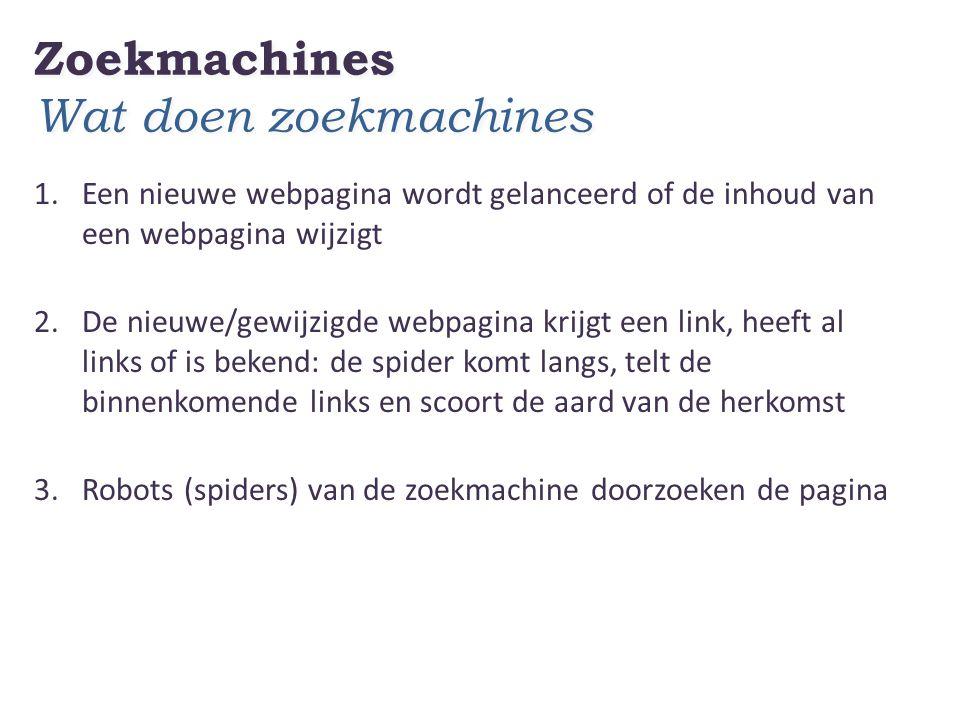 Zoekmachines Wat doen zoekmachines 1.Een nieuwe webpagina wordt gelanceerd of de inhoud van een webpagina wijzigt 2.De nieuwe/gewijzigde webpagina krijgt een link, heeft al links of is bekend: de spider komt langs, telt de binnenkomende links en scoort de aard van de herkomst 3.Robots (spiders) van de zoekmachine doorzoeken de pagina