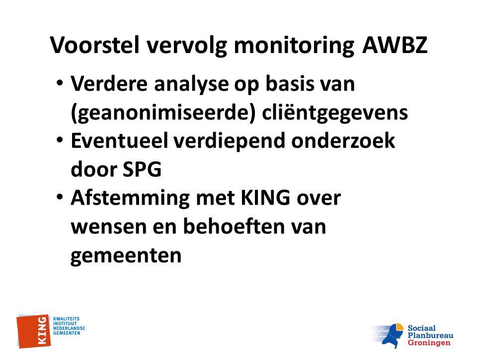 Voorstel vervolg monitoring AWBZ Verdere analyse op basis van (geanonimiseerde) cliëntgegevens Eventueel verdiepend onderzoek door SPG Afstemming met KING over wensen en behoeften van gemeenten