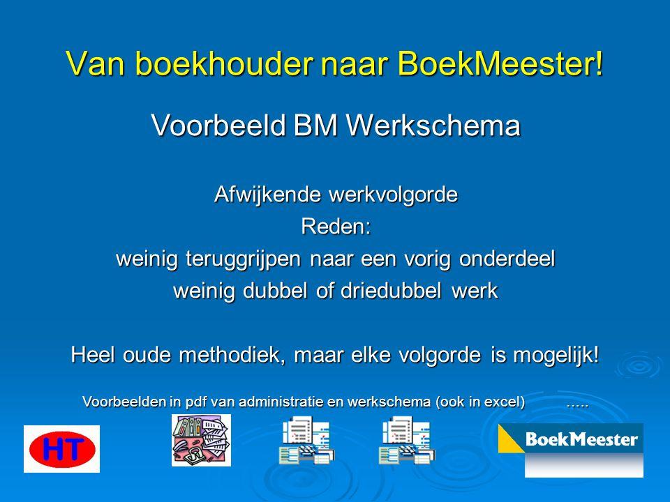 Van boekhouder naar BoekMeester! Voorbeeld BM Werkschema Afwijkende werkvolgorde Reden: weinig teruggrijpen naar een vorig onderdeel weinig dubbel of