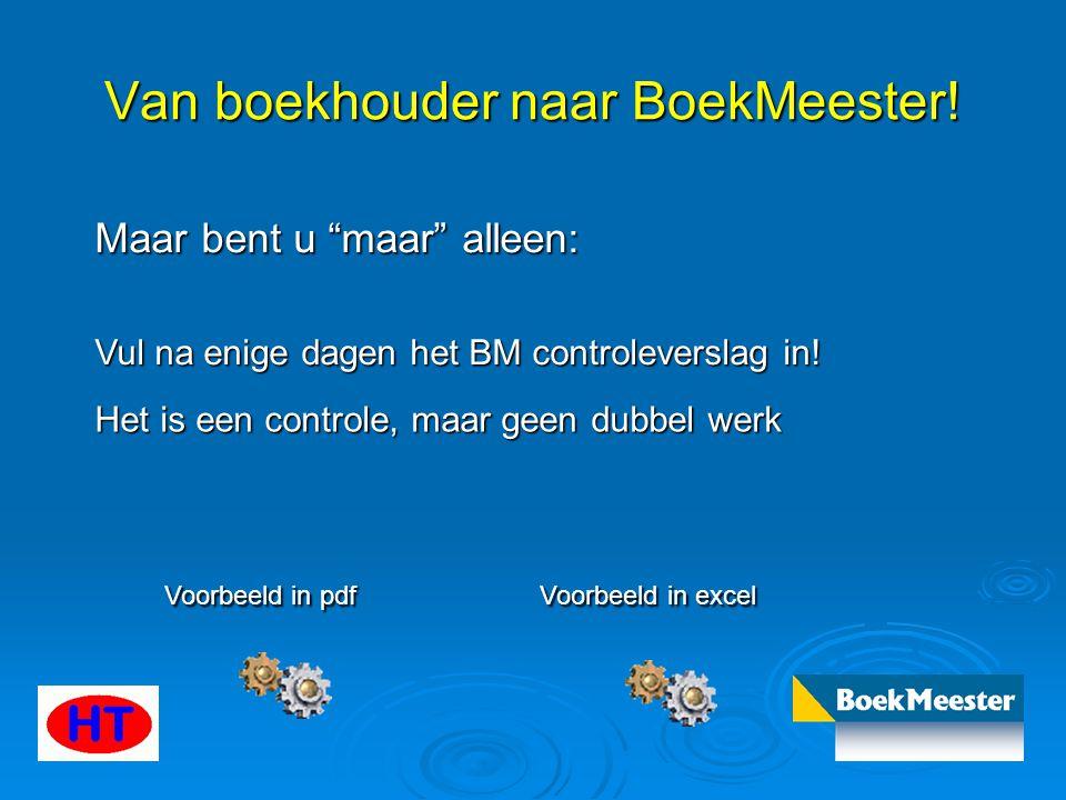 """Van boekhouder naar BoekMeester! Maar bent u """"maar"""" alleen: Vul na enige dagen het BM controleverslag in! Het is een controle, maar geen dubbel werk V"""