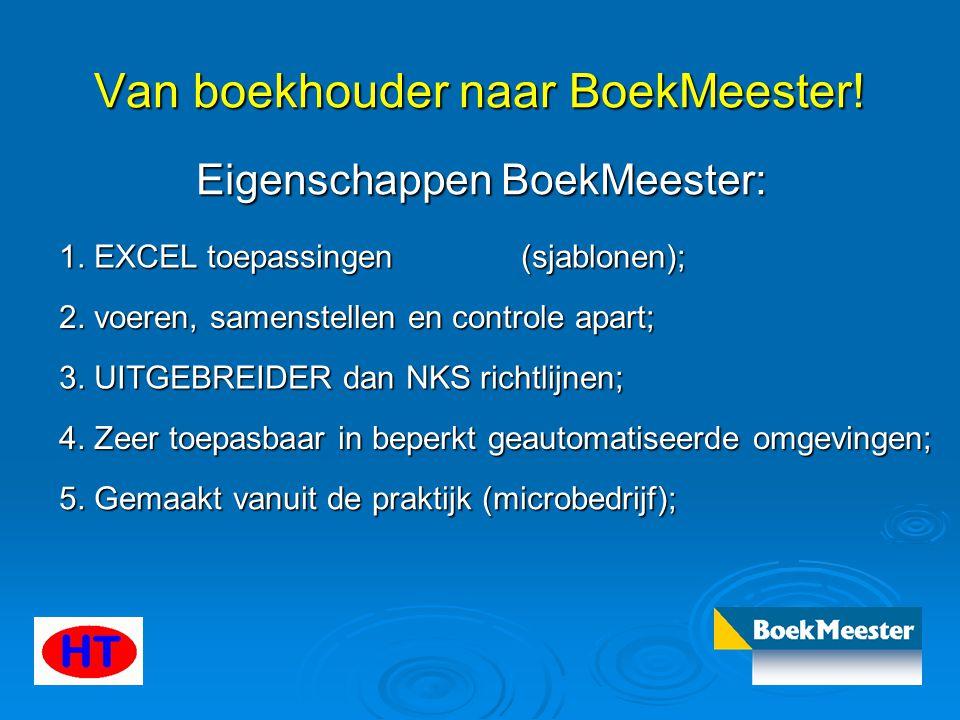 Van boekhouder naar BoekMeester! Eigenschappen BoekMeester: 1. EXCEL toepassingen (sjablonen); 2. voeren, samenstellen en controle apart; 3. UITGEBREI