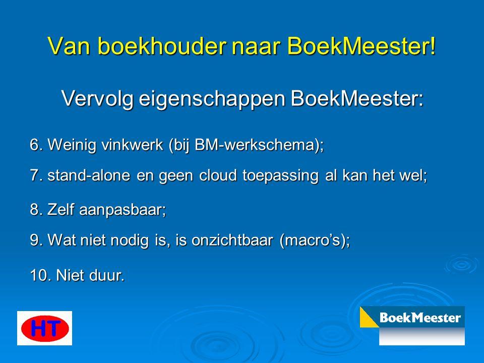 Van boekhouder naar BoekMeester! Vervolg eigenschappen BoekMeester: 6. Weinig vinkwerk (bij BM-werkschema); 7. stand-alone en geen cloud toepassing al