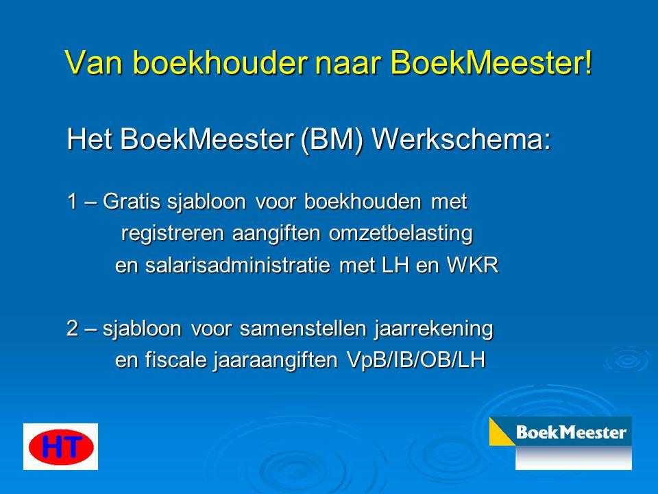 Van boekhouder naar BoekMeester! Het BoekMeester (BM) Werkschema: 1 – Gratis sjabloon voor boekhouden met registreren aangiften omzetbelasting registr