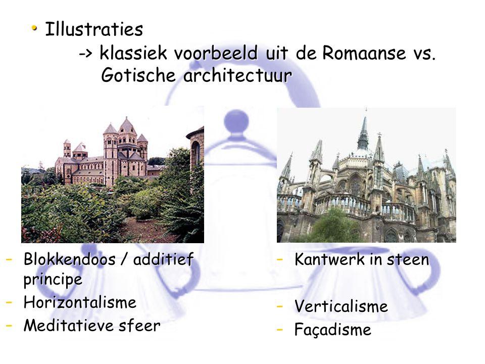 Illustraties -> klassiek voorbeeld uit de Romaanse vs. Gotische architectuur Illustraties -> klassiek voorbeeld uit de Romaanse vs. Gotische architect
