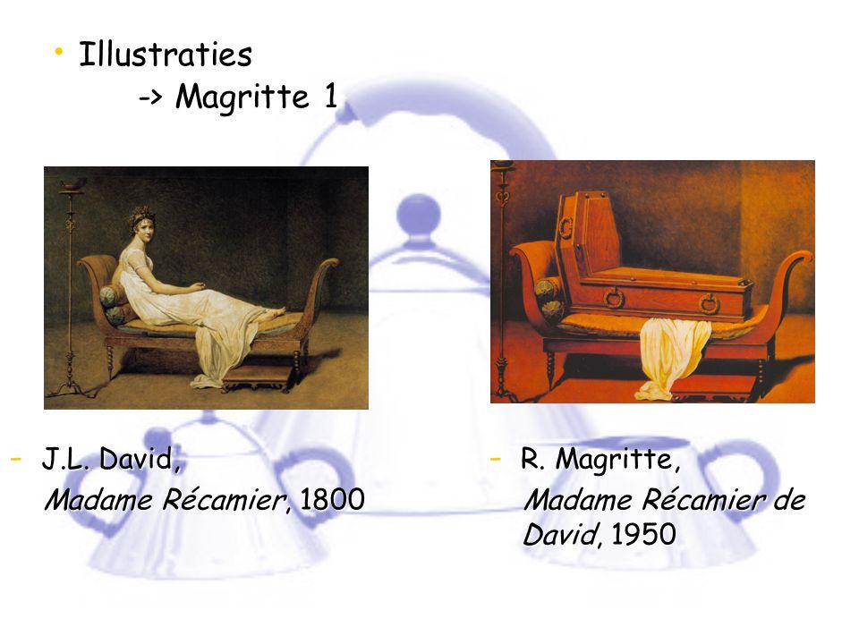Illustraties -> Magritte 1 Illustraties -> Magritte 1 - J.L. David, Madame Récamier, 1800 Madame Récamier, 1800 - R. Magritte, Madame Récamier de Davi