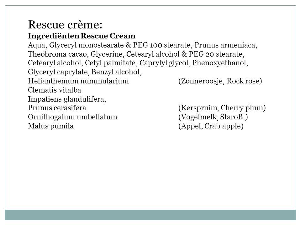 Rescue crème: Ingrediënten Rescue Cream Aqua, Glyceryl monostearate & PEG 100 stearate, Prunus armeniaca, Theobroma cacao, Glycerine, Cetearyl alcohol