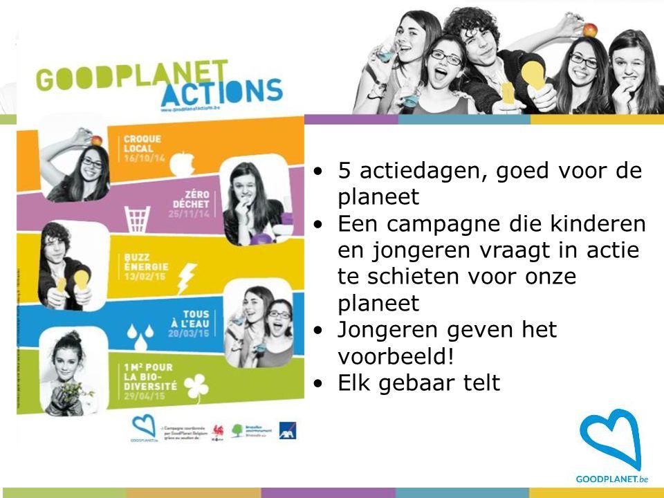 5 actiedagen, goed voor de planeet Een campagne die kinderen en jongeren vraagt in actie te schieten voor onze planeet Jongeren geven het voorbeeld! E