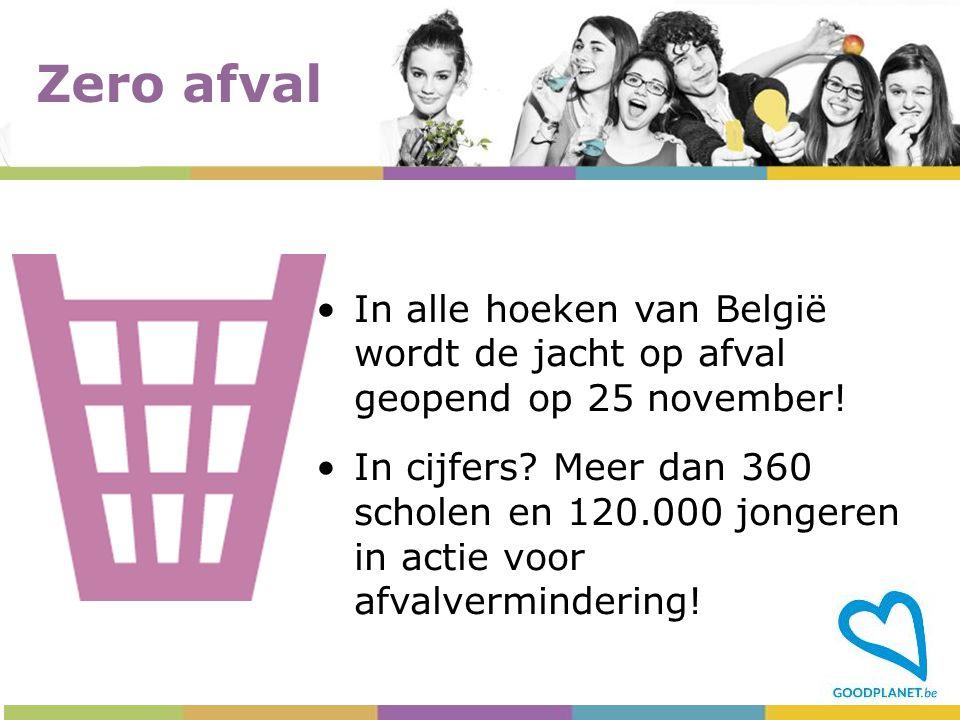 In alle hoeken van België wordt de jacht op afval geopend op 25 november! In cijfers? Meer dan 360 scholen en 120.000 jongeren in actie voor afvalverm