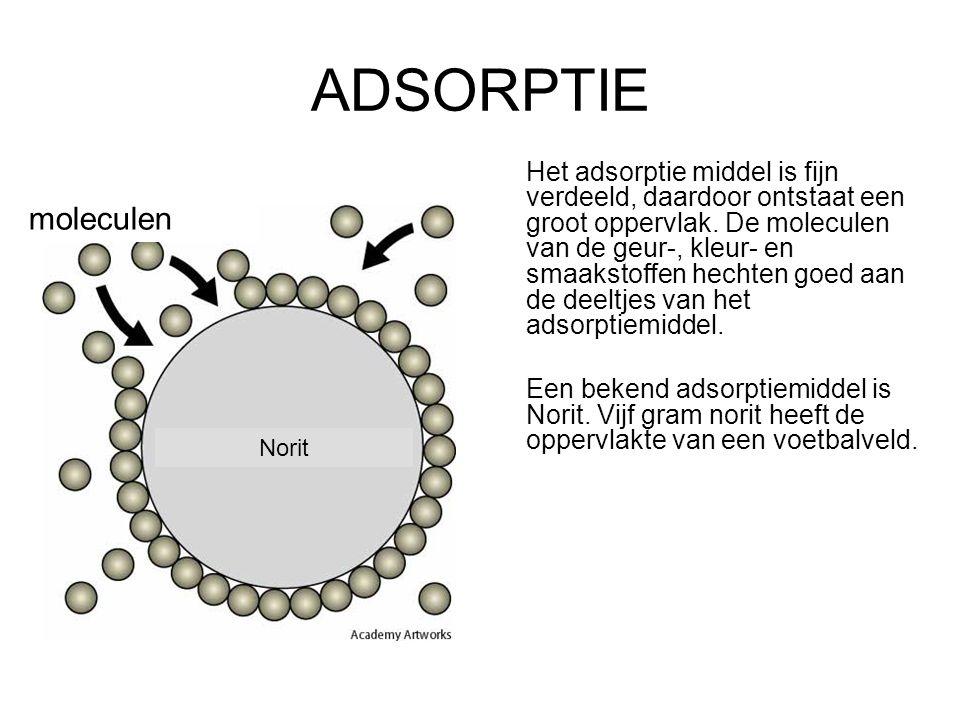 4.Kleur, geur- en smaakstoffen: ADSORPTIE Berust op verschil in: hechtbaarheid Na adsorptie volgt altijd filtreren.