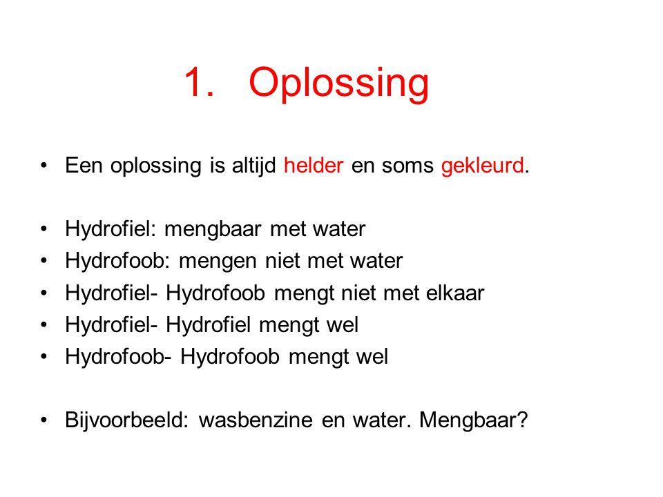 Soorten mengsels: Vloeistof + Vloeistof  1.Oplossing of 2.