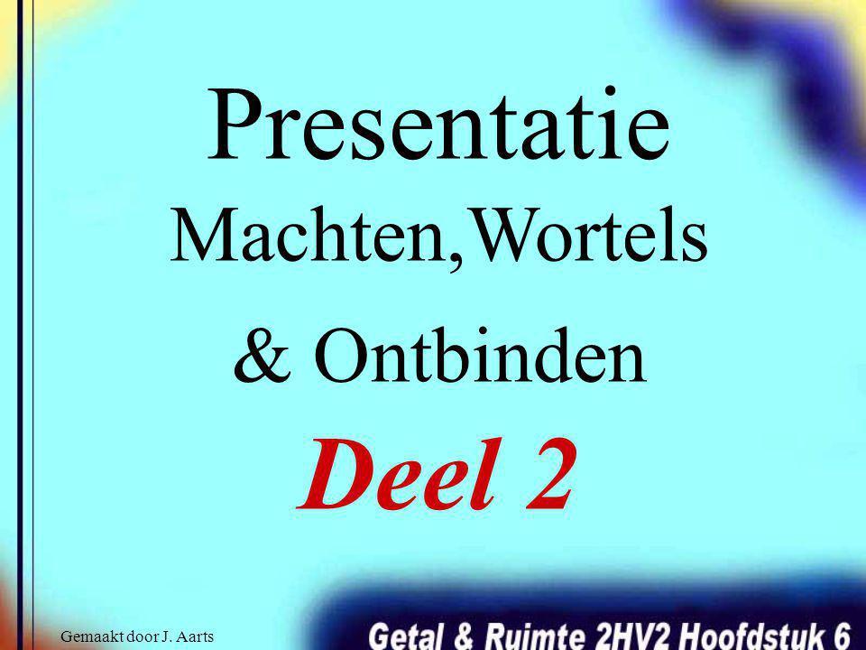 Presentatie Machten,Wortels & Ontbinden Deel 2 Gemaakt door J. Aarts