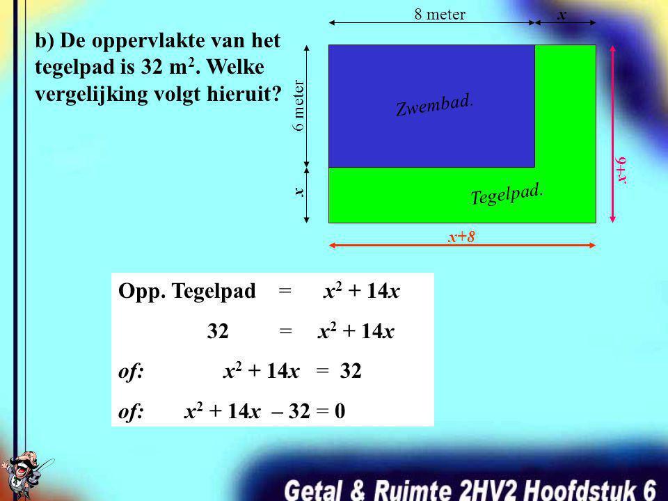 a) Verklaar dat de oppervlakte van het tegelpad x 2 +14x is. 8 meterx 6 meter x Zwembad. Tegelpad. Opp. Tegelpad =Opp. Totale terrein – Opp. Zwembad =