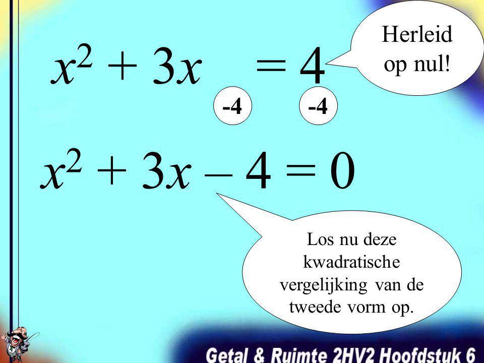 Een kwadratische vergelijkingen oplossen pak je aan door de vergelijking te ontbinden in factoren. Eérst moet je de vergelijking echter herleiden op n