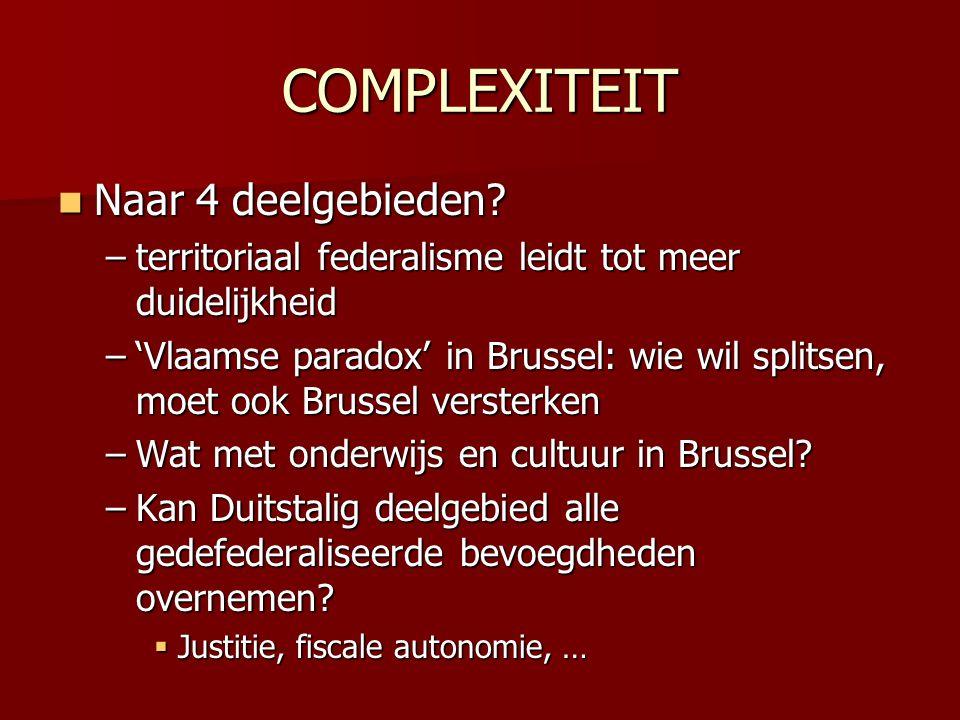 BRUSSELS IMBROGLIO Geïntegreerd beleid voor Brussels hoofdstedelijk gebied Geïntegreerd beleid voor Brussels hoofdstedelijk gebied –Minder gemeenten en gemeenschappen  Gemeenten worden districten, één politiezone, één huisvestingsmaatschappij  Gemeenschappen schuiven bevoegdheden door aan / delen bevoegdheden met gewest  Brussels onderwijsbeleid (cf.