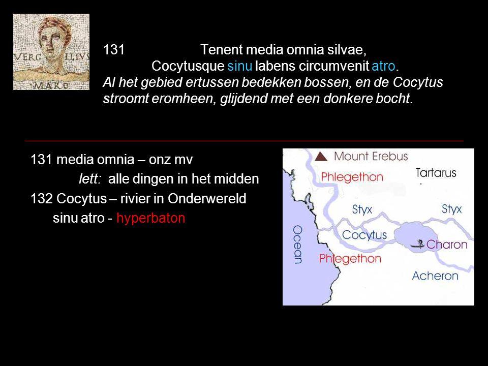 133Quod si tantus amor menti, si tanta cupido est bis Stygios innare lacus, bis nigra videre 135Tartara, Maar als er zo'n groot verlangen is in je geest, als de begeerte zogroot is tweemaal over het meer de Styx te varen, twee keer te zien de donkere onderwereld, 133 quod – relatieve aansluiting vervangen door en/maar/want + aanwijzend / pers vnw.