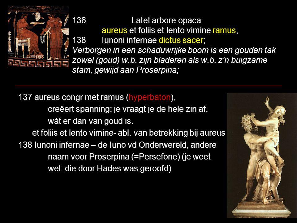 136Latet arbore opaca aureus et foliis et lento vimine ramus, 138Iunoni infernae dictus sacer; Verborgen in een schaduwrijke boom is een gouden tak zowel (goud) w.b.